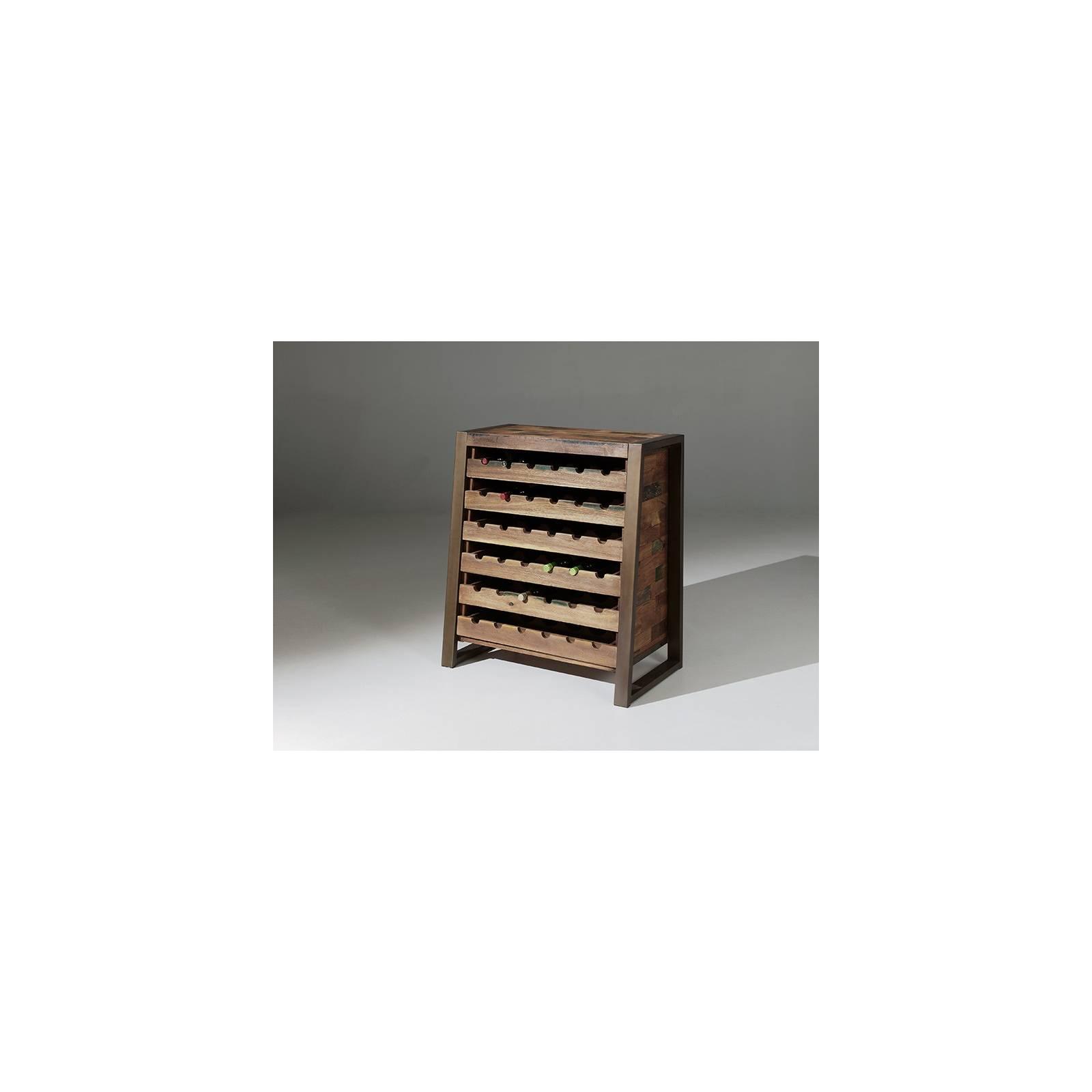 Armoire A Vin Isis Teck Recyclé - meuble bois massif