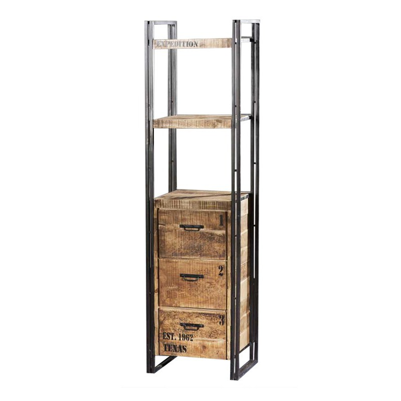 Tag re de bureau factory meubles industriels en bois for Etagere bois industriel