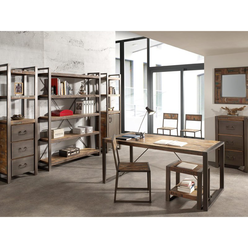 biblioth que isis meuble en teck massif style industriel. Black Bedroom Furniture Sets. Home Design Ideas