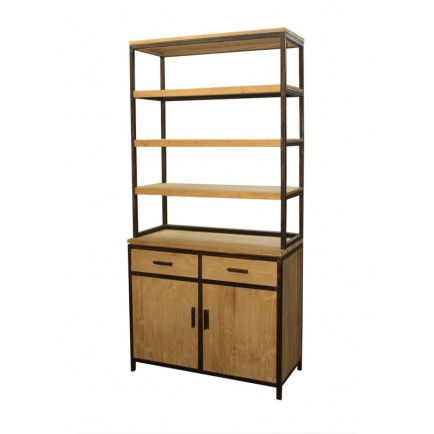 biblioth que en bois exotique luna style industriel. Black Bedroom Furniture Sets. Home Design Ideas
