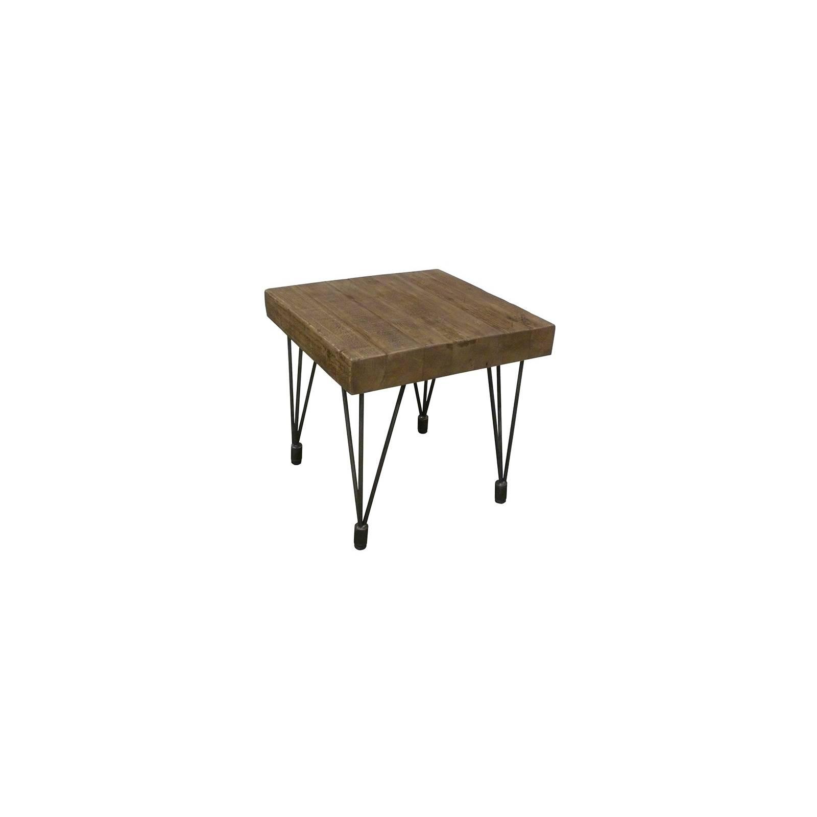 Bout De Canapé Carré Victor Pin - meuble style rétro
