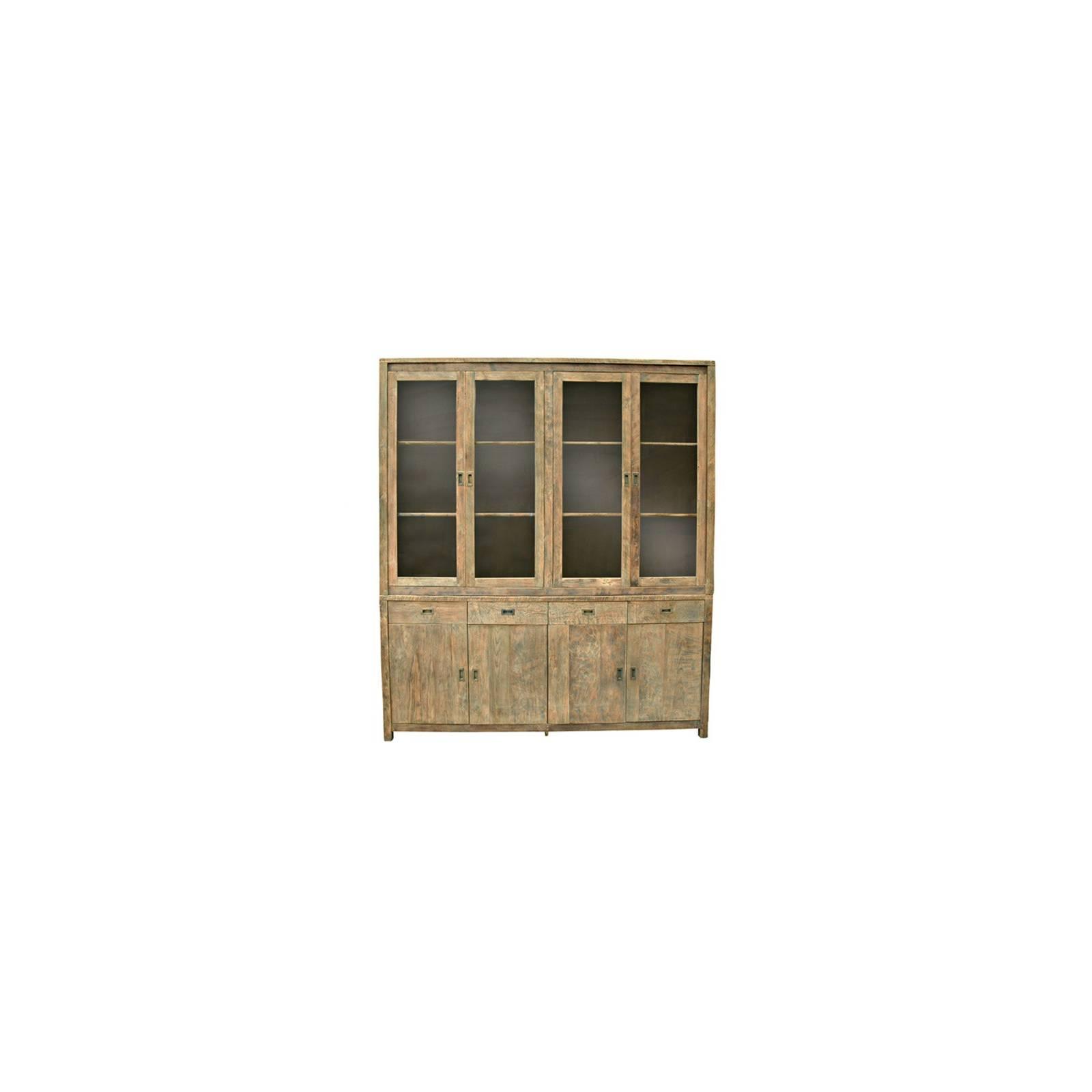 Buffet vaisselier vitré Felix Teck Recyclé - meuble bois massif