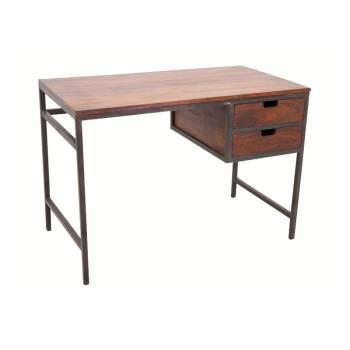 Bureau PM Loft Fer forgé et Palissandre - meuble style industriel