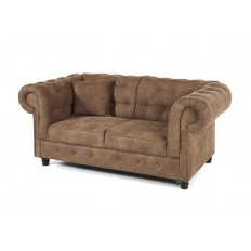 Canapé Chesterfield Deux Places Taupe Tissu