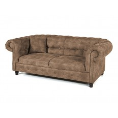 Canapé Chesterfield Trois Places Taupe Tissu
