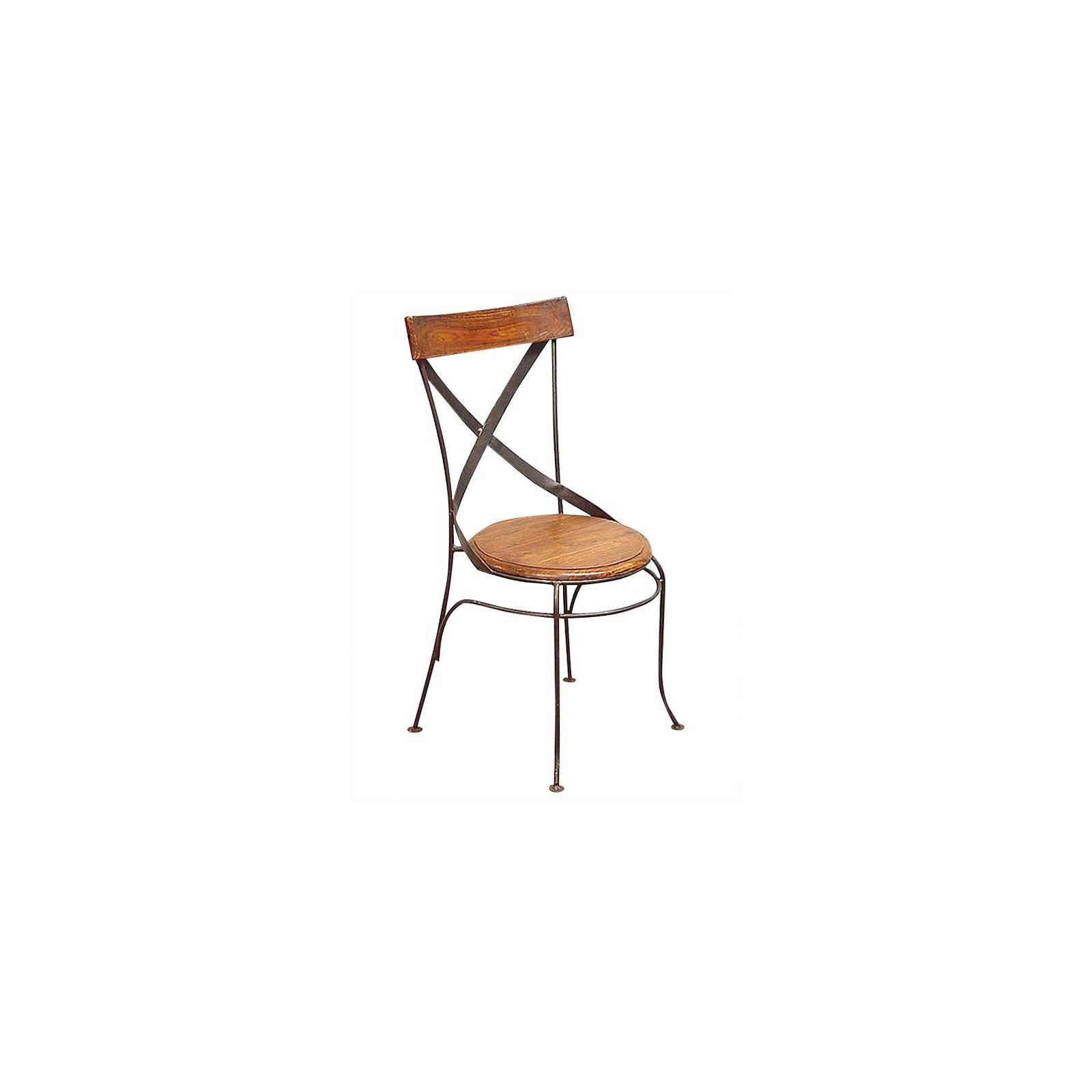 Chaise Bistrot Fer forgé et Palissandre - meuble style romantique