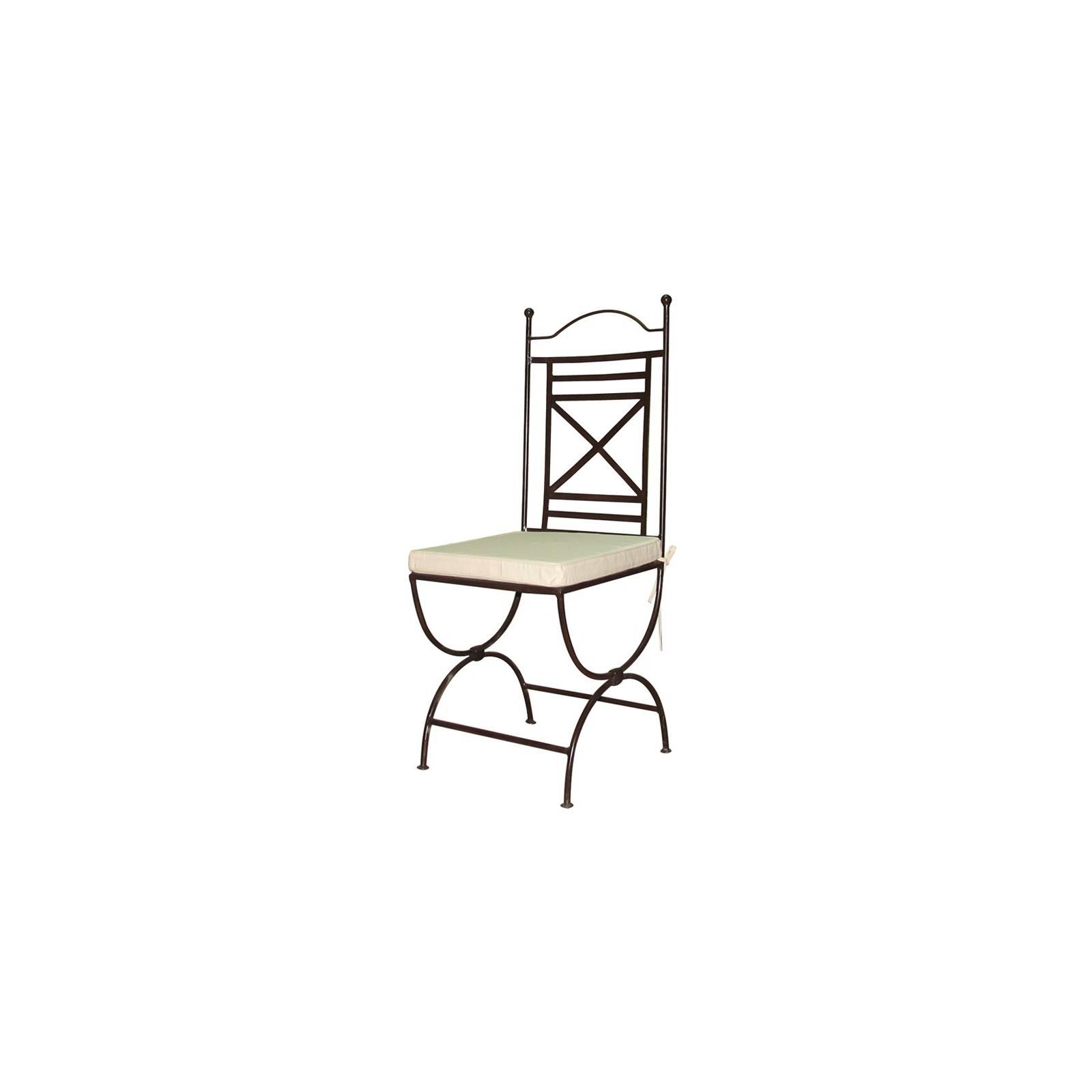Chaise en fer forg dakhla salle manger classique for Chaise longue fer forge
