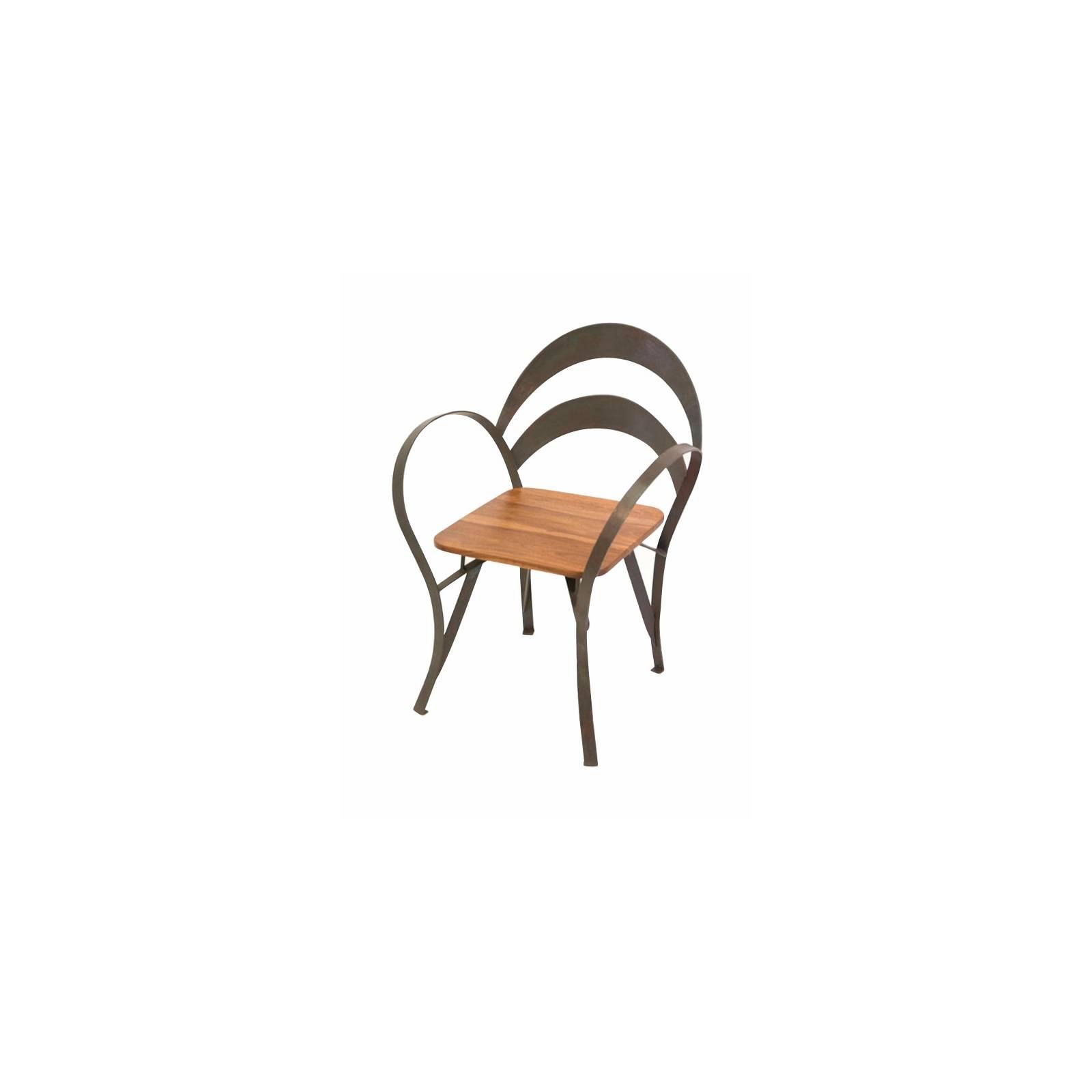 Chaise Loft Fer Forgé et Palissandre - meuble style industriel