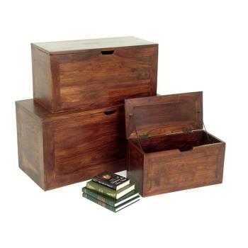 Coffre Gigogne S/3 Zen Palissandre - meubles bois exotique