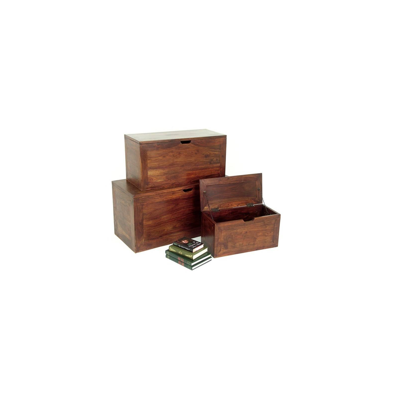Coffre Gigogne Palissandre S/3 Zen - meubles bois exotique