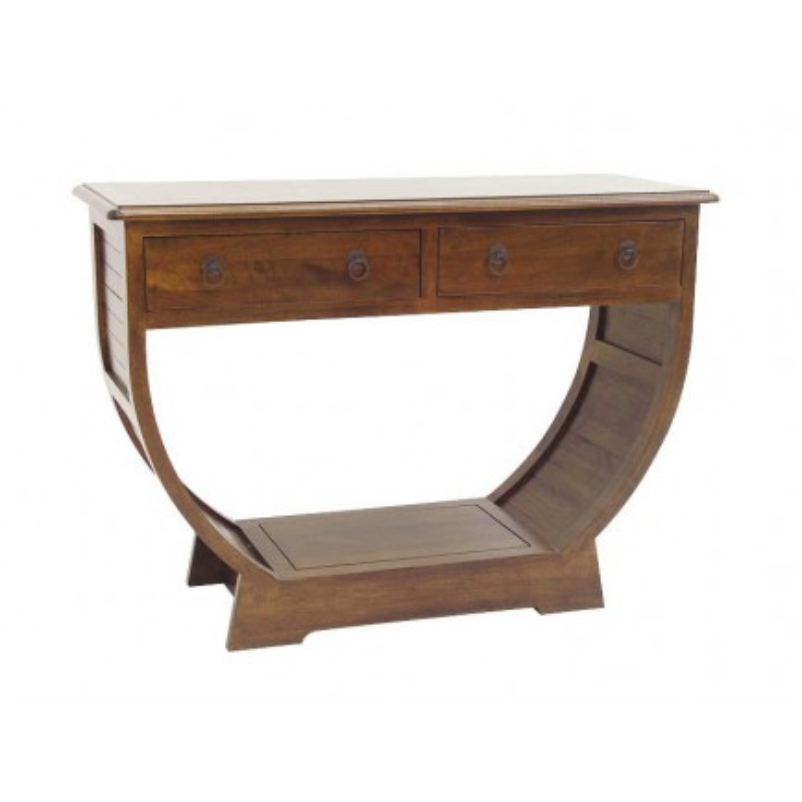 Console 1/2 Cercle Panama Hévéa - meuble bois massif