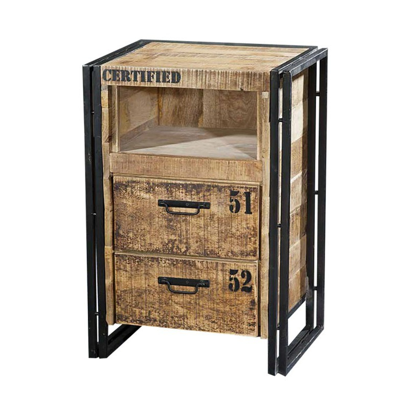 chiffonnier en acacia factory meuble style loft. Black Bedroom Furniture Sets. Home Design Ideas