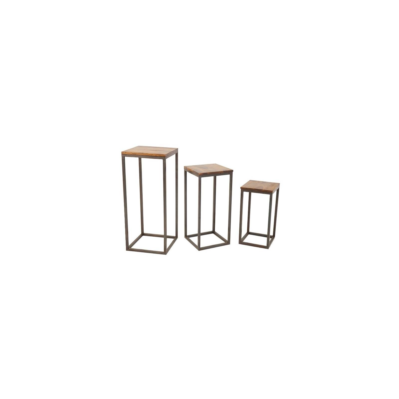 Sellette Set Loft Fer Forgé et Palissandre - meuble style industriel