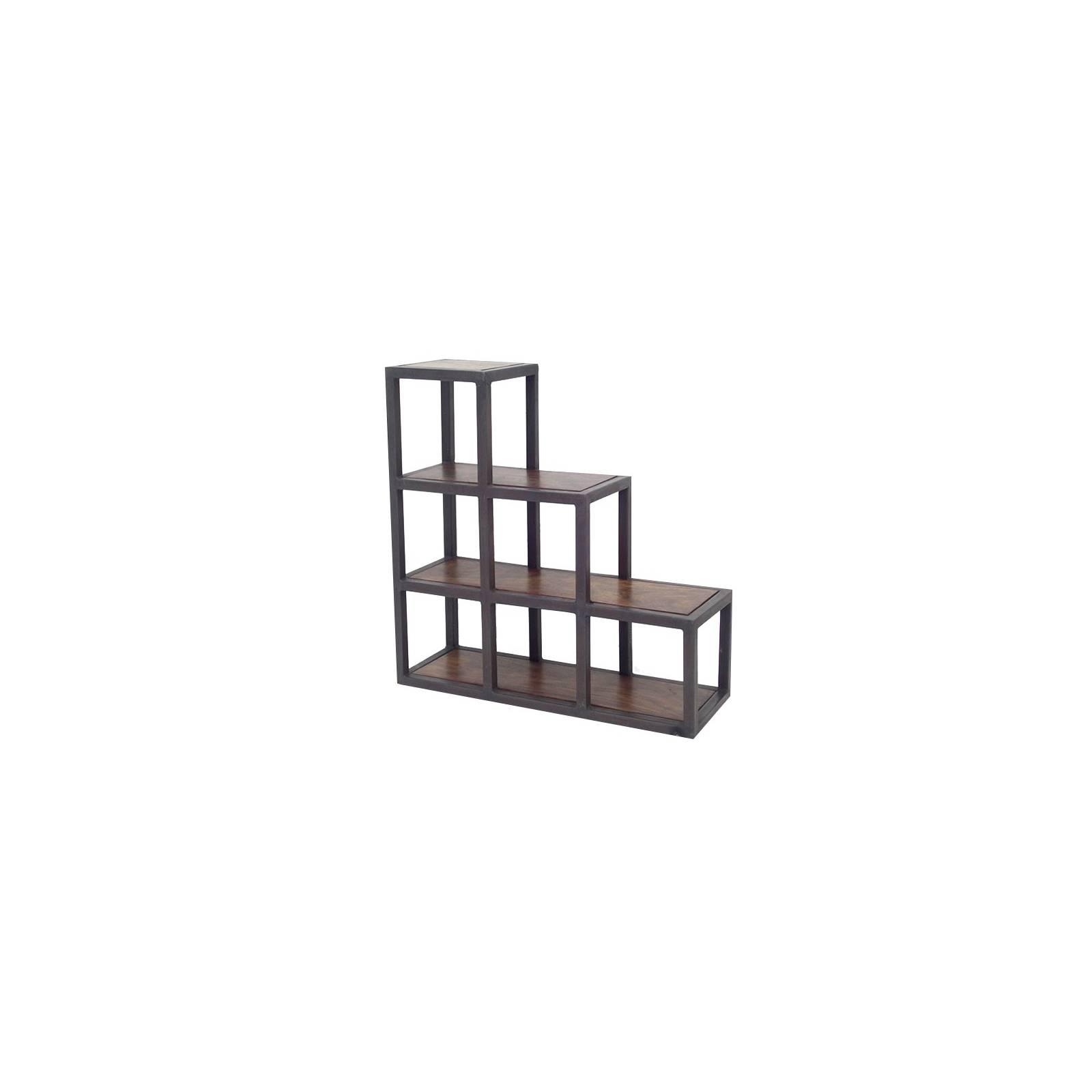 Escalier Étagère Loft Fer forgé et Palissandre - meuble style industriel