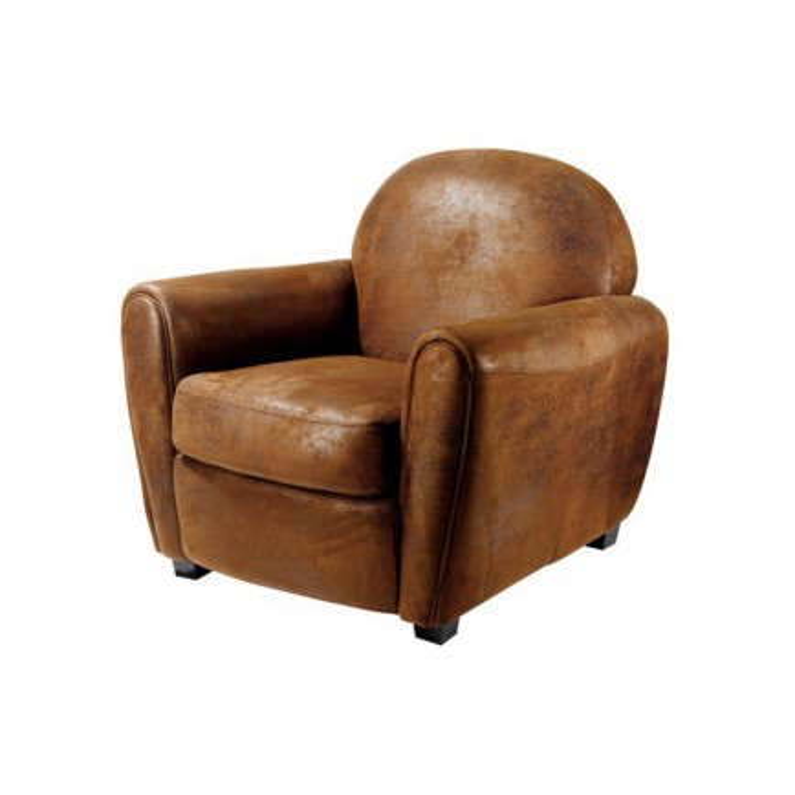 Fauteuil Club Vintage Marron Microfibre - fauteuil rétro