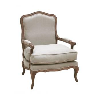 Fauteuil Crème Louise Chêne - meuble bois massif