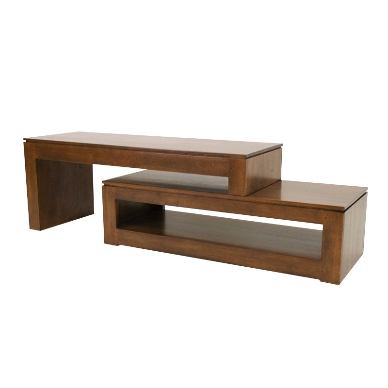 Meuble tv design en bois exotique mod le montr al en h v a for Meuble tv hifi design