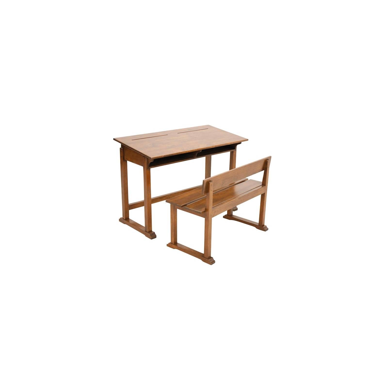 Pupitre Ecolier Banc Tradition Hévéa - meuble style classique