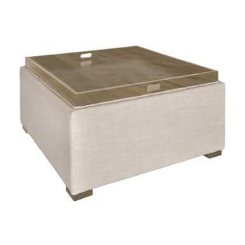 pouf en tissu repose pieds en bois et tissu d co pour le salon. Black Bedroom Furniture Sets. Home Design Ideas