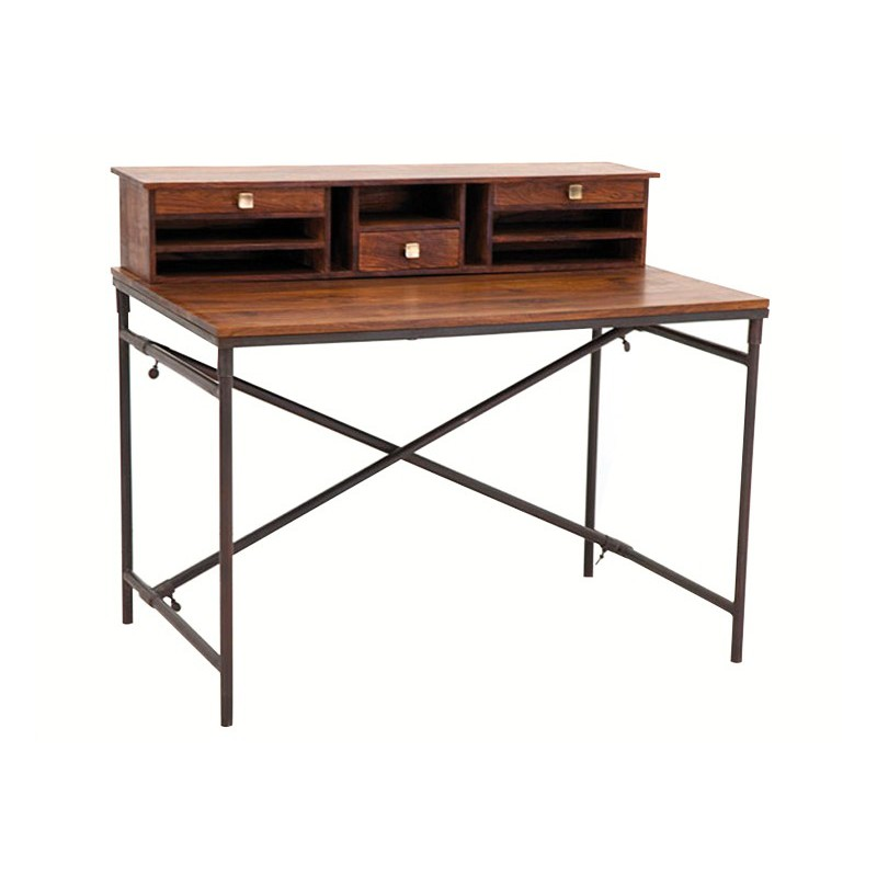 bureau cargo marque hanjel console secr taire style bureau bois et fer. Black Bedroom Furniture Sets. Home Design Ideas