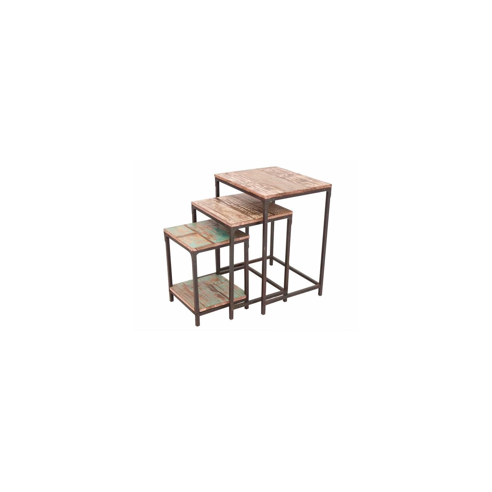 Sellettes Gigognes Butterfly Palissandre - meuble industriel en bois exotique