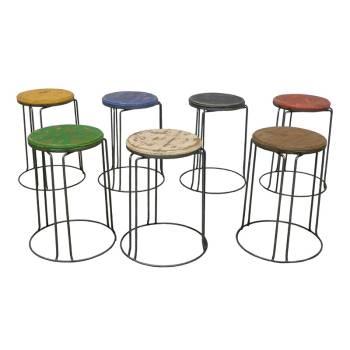 Set 7 Tabourets Victor Pin - meuble style rétro