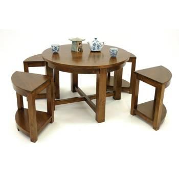 Table Basse 4 Tabourets Omega Hévéa