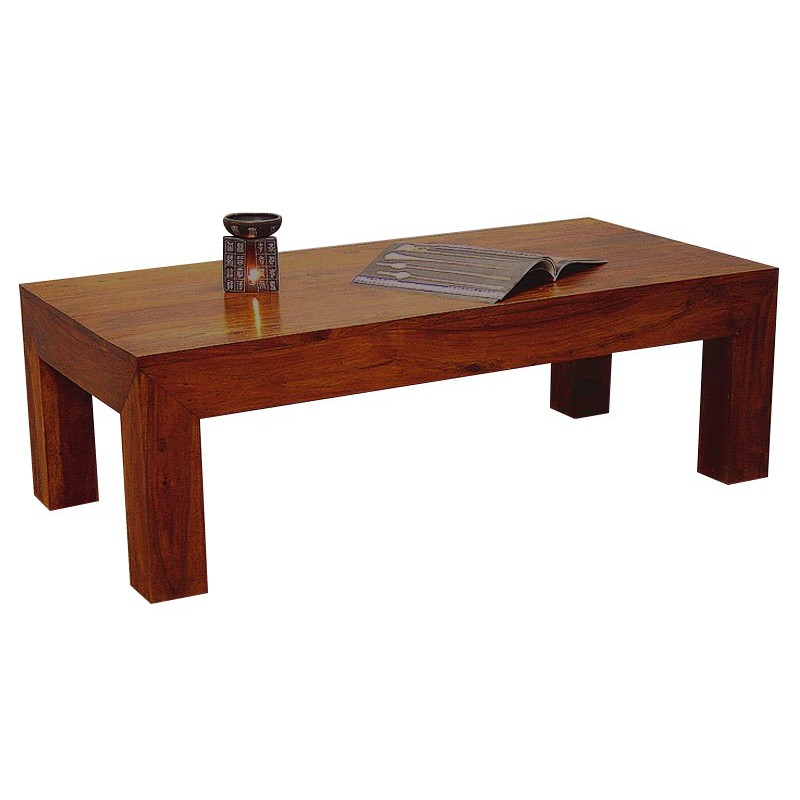 Table basse rectangulaire en palissandre salon zen - Table basse bois exotique massif ...
