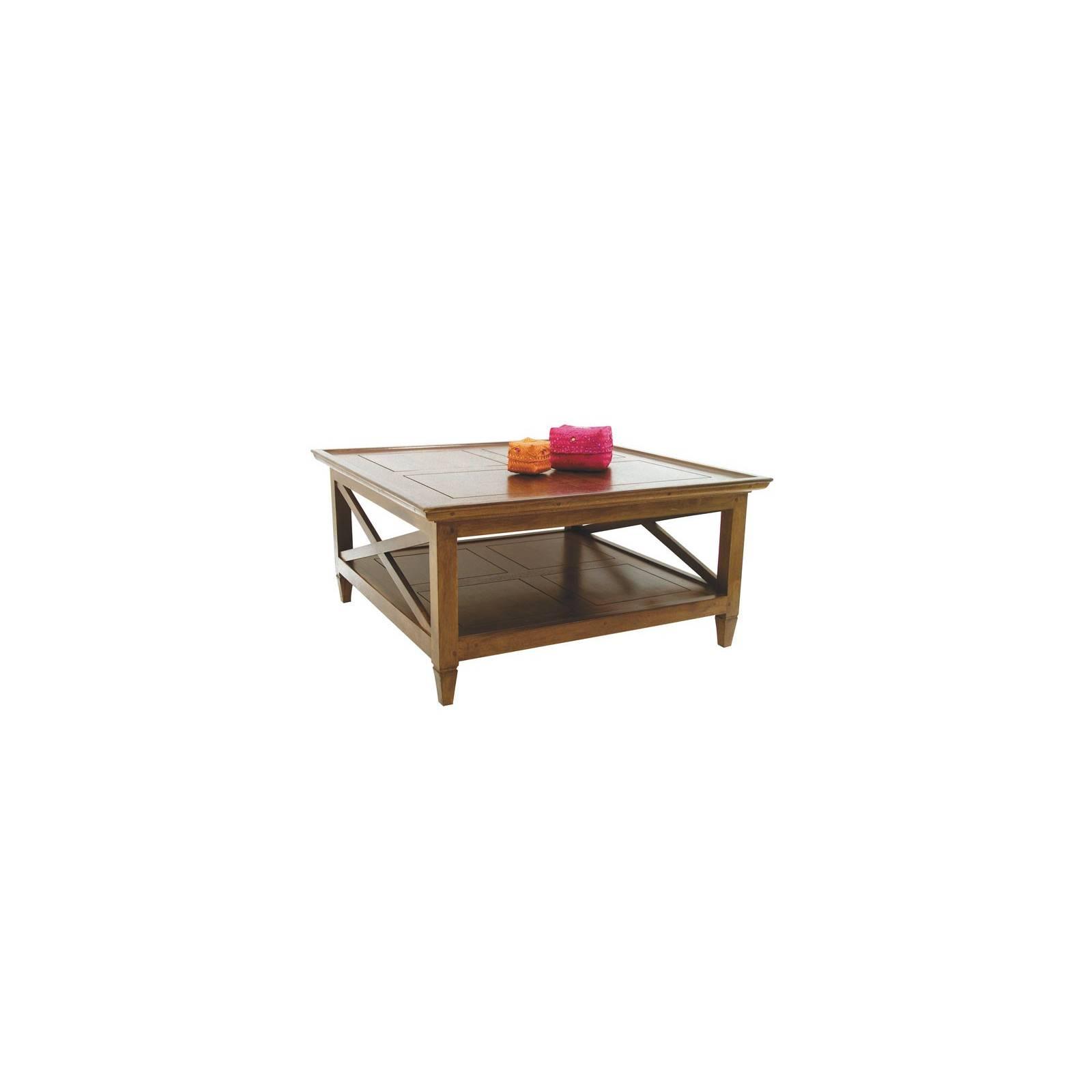 Table Basse Carrée Croisillon Hévéa - meuble style classique