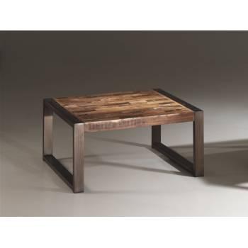 Table Basse Carrée Isis Teck Recyclé - meuble bois massif