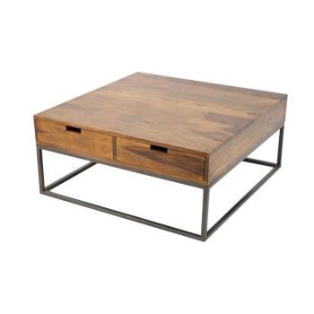 Table Basse Carrée Loft Fer Forgé Et Palissandre - meuble style industriel