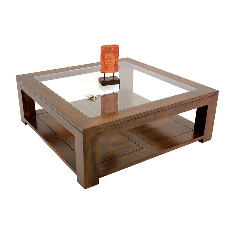 Table carr e vitr e table de salon double plateau omega - Table basse carree bois exotique ...