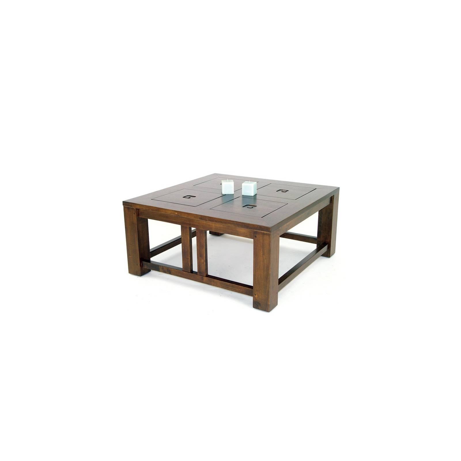 table basse carr e en h v a massif d co style primitif. Black Bedroom Furniture Sets. Home Design Ideas