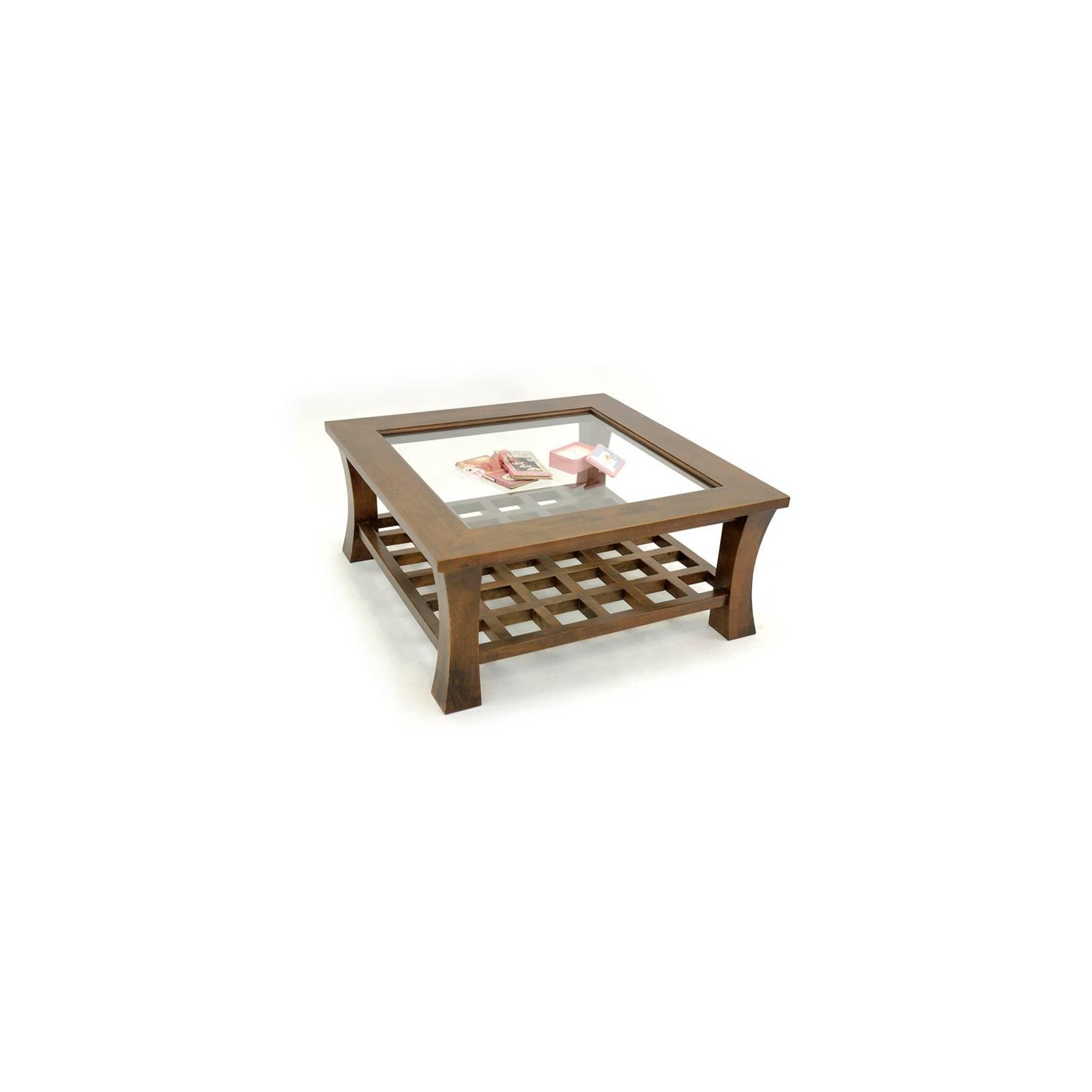 Table Basse Carrée Vitrée Chine Hévéa - meuble bois exotique