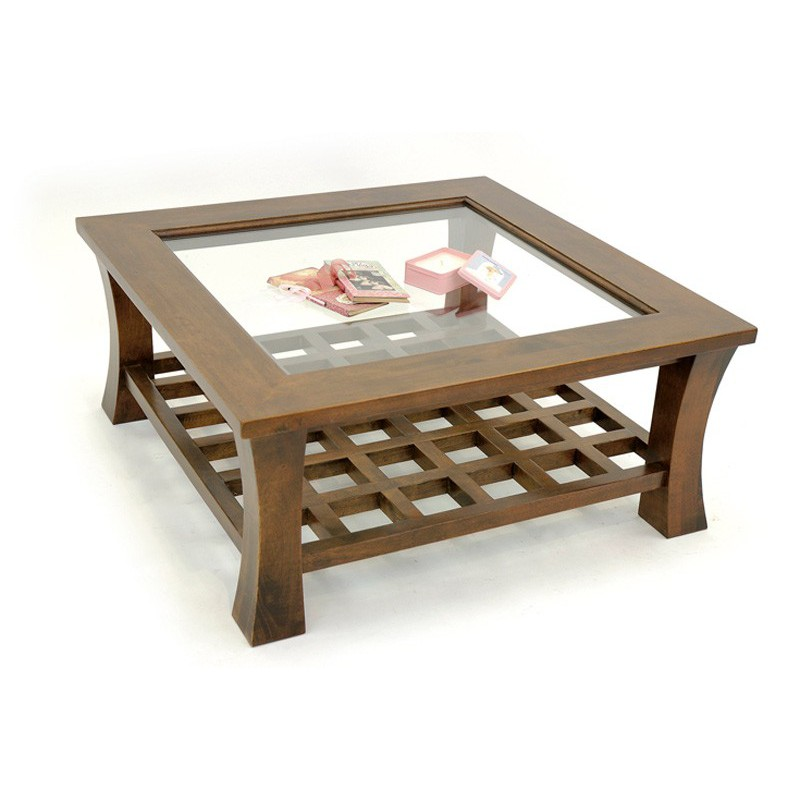 Table basse carr e vitr e chine h v a salon style exotique for Table basse vitree