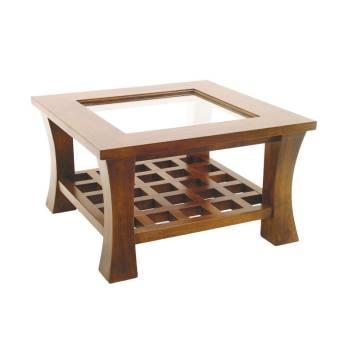 Table Basse Carrée Vitrée PM Chine Hévéa - meuble bois exotique