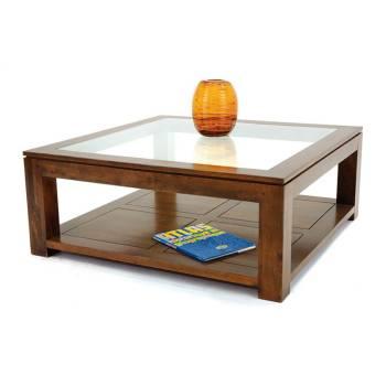 Table Basse Carrée Vitrée Omega Hévéa - meuble style design