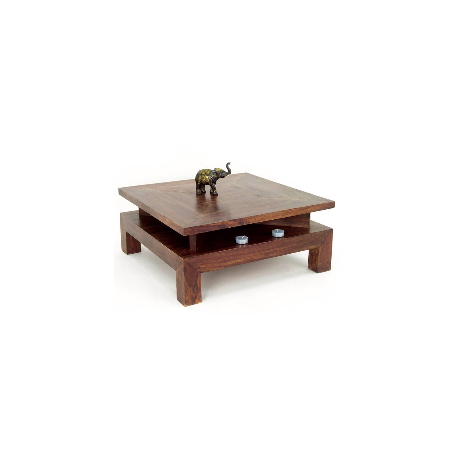 Table Basse Carrée Palissandre Zen - meuble en bois exotique