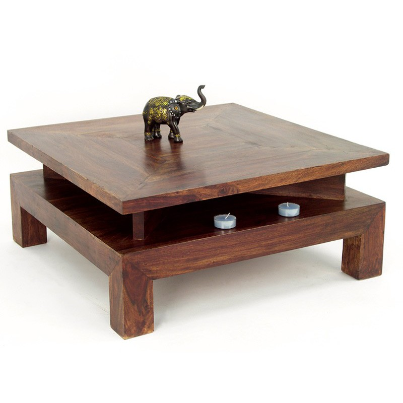 Table basse carr e en palissandre zen mobilier ethnique - Table basse carree en bois ...