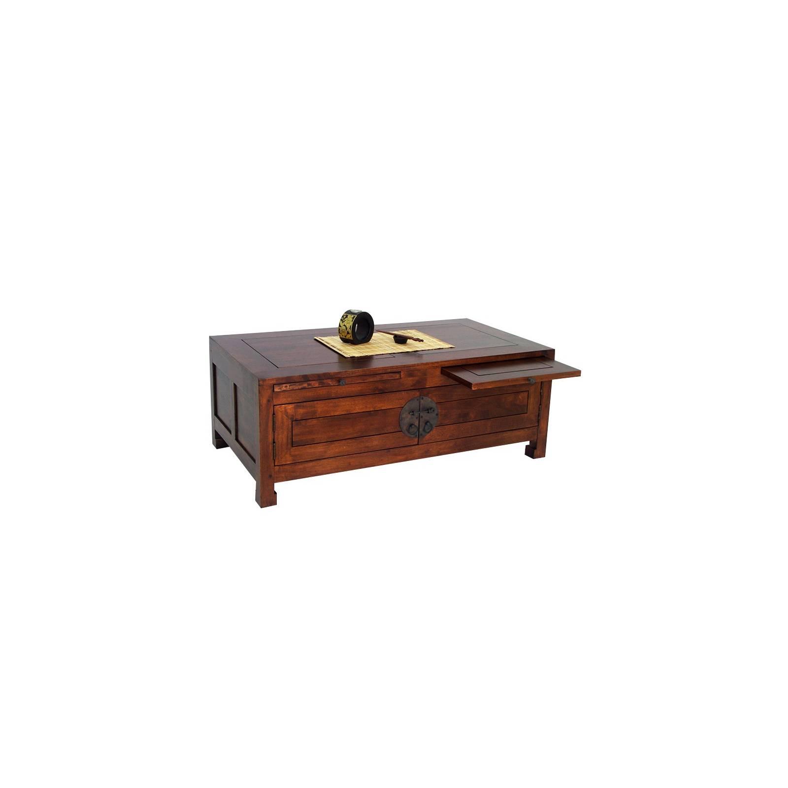 Table Basse Rectangulaire Chine Hévéa - meuble bois exotique