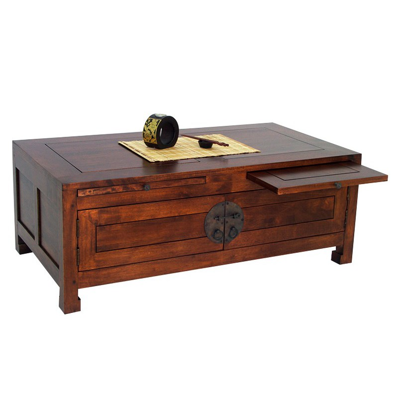 Table basse bois hevea - Table basse coloniale ...