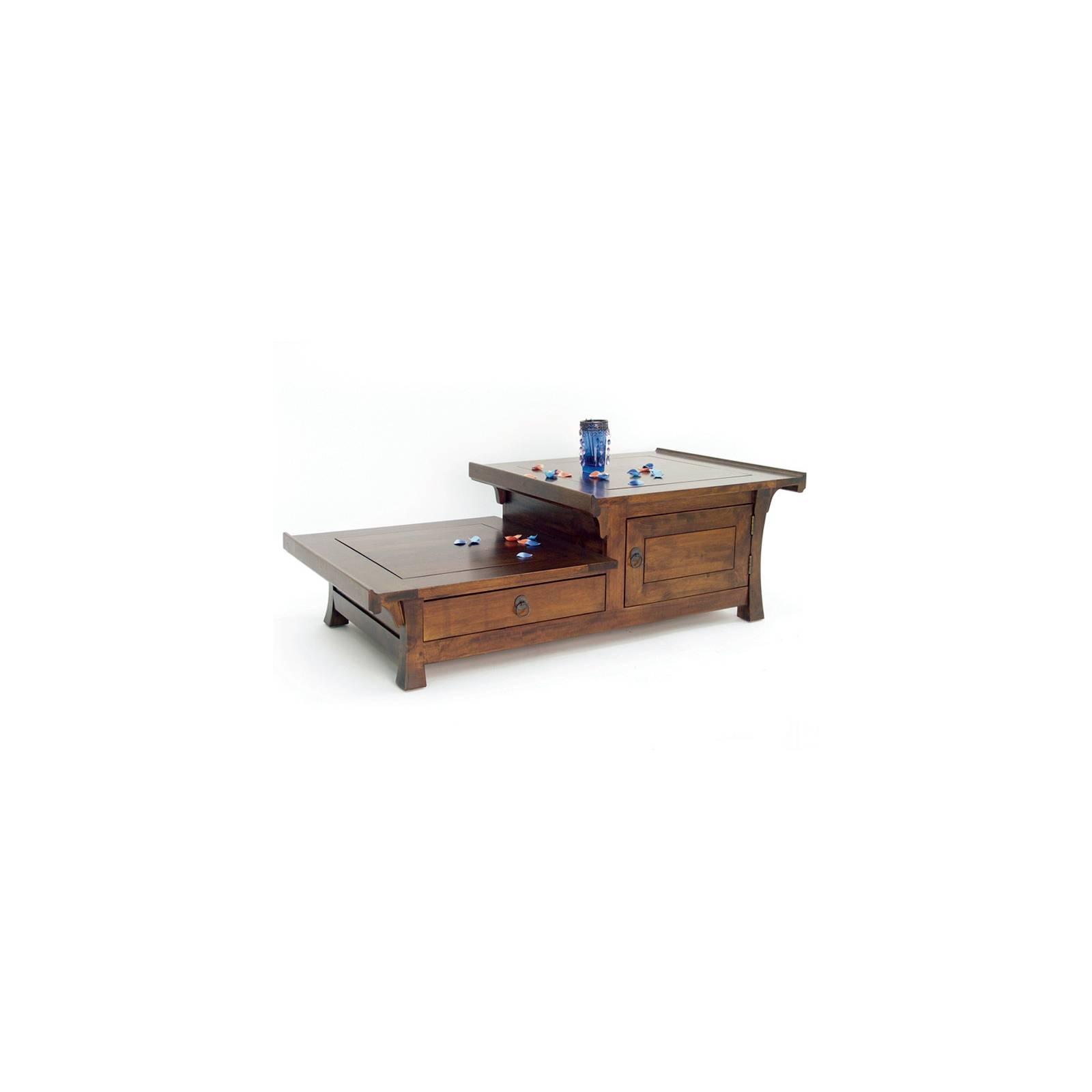 Table Basse Asymétrique Chine Hévéa - meuble bois exotique