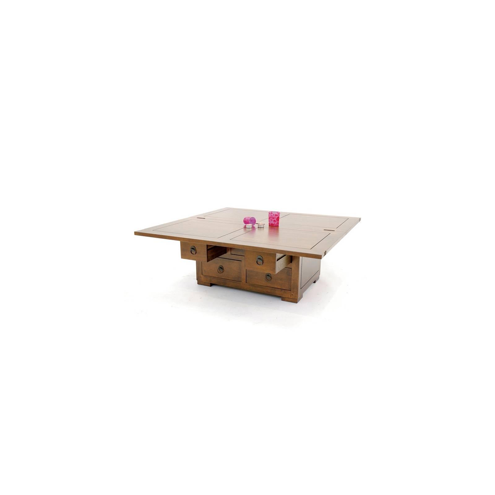 Table Basse Double Face Chine Hévéa - meuble bois exotique