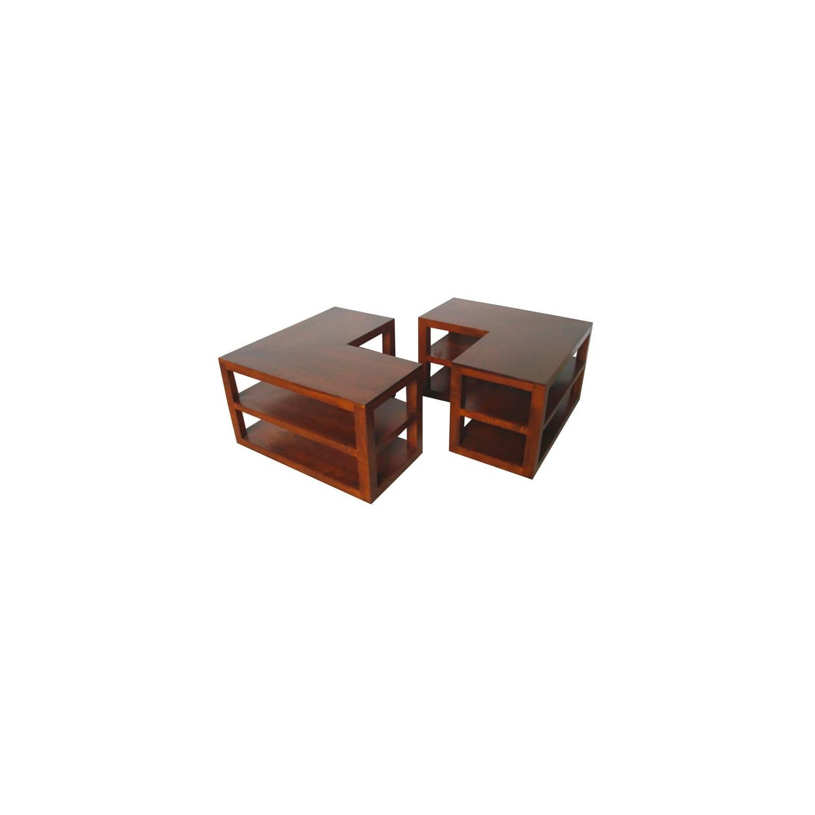 Table Basse Double Omega Hévéa - meuble style design