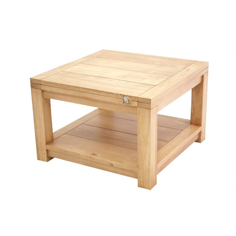 Table basse bois hevea - Table carree extensible bois ...