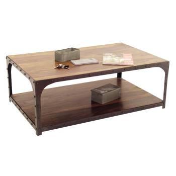 Table Basse Rectangulaire Fer forgé et Palissandre Loft