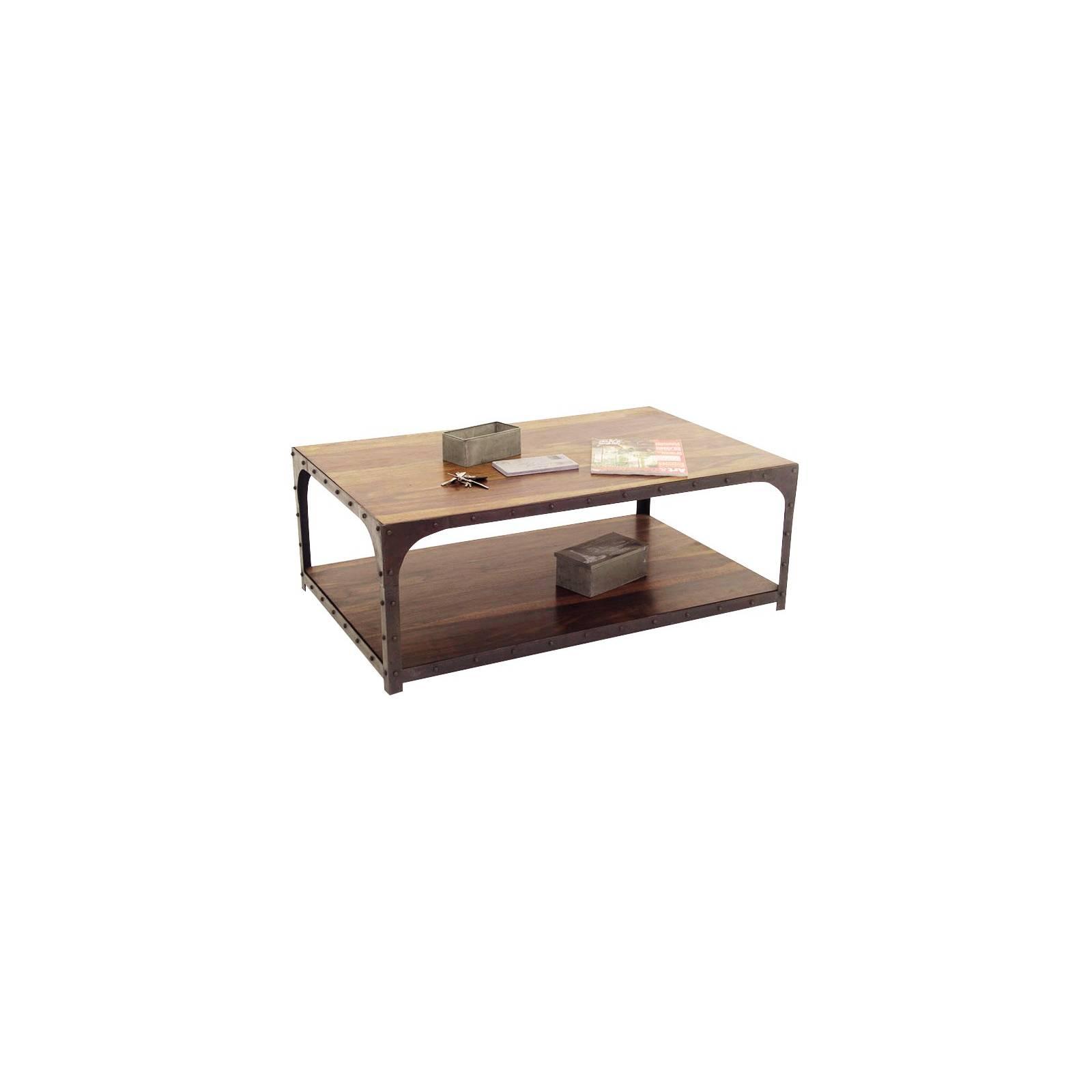 Table Basse Rectangulaire Loft Fer forgé et Palissandre - meuble style industriel