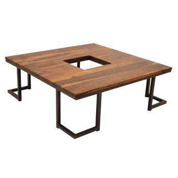 Table Basse Vintage Loft Fer Forgé et Palissandre - meuble style industriel