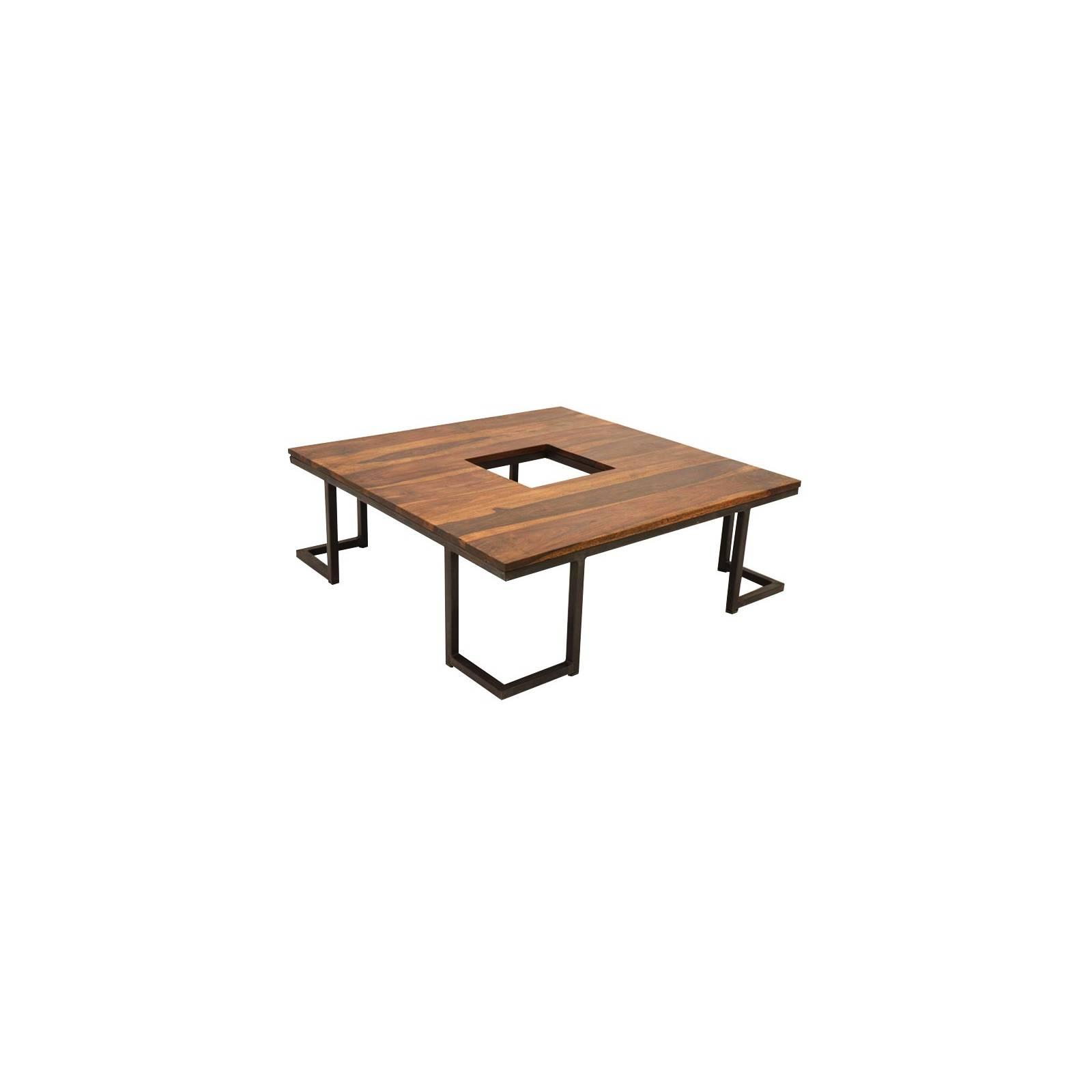 table basse r tro en fer forg et palissandre style loft. Black Bedroom Furniture Sets. Home Design Ideas