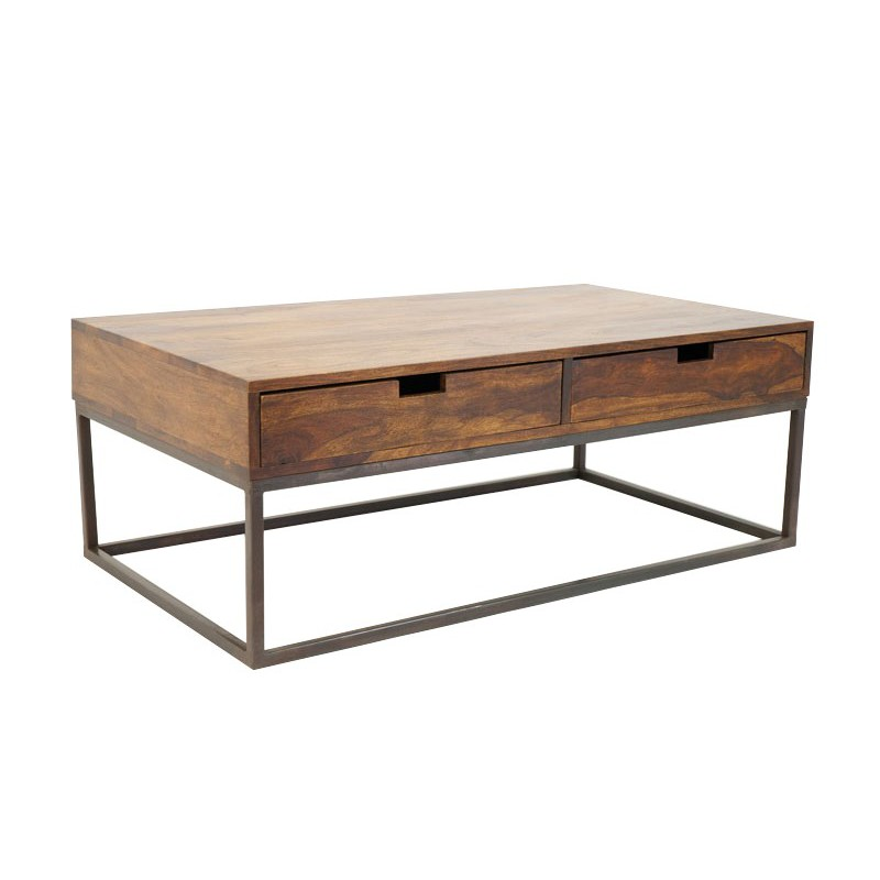 Table basse en fer forg et palissandre tendance loft for Table basse bois fer forge